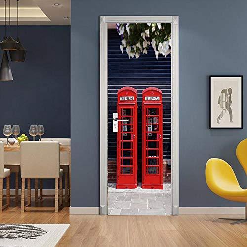 ZCLCHQ Puerta Wallpaper Murales 3D Cabina de teléfono roja Door Wallpaper Sticker Autoadhesivo Vinilo Removable Art Door Decals para la Decoración Casera 77 x 200cm(An x Al)