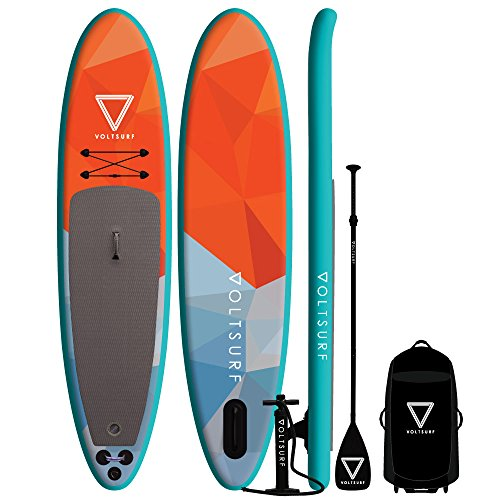 VoltSurf - 11' All-Around - iSUP Inflatable Paddle Board Kit + Leash & Backpack w/Wheels (6 Inch Thick)