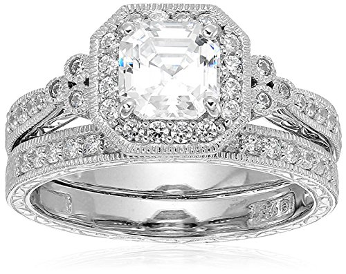 Platinum-Plated Sterling Silver Antique Ring set with Asscher-Cut Swarovski Zirconia, Size 8