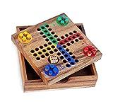 Logica Juegos Art. Ludo - Parchís - Juego de Bolsillo - Juego de Mesa de Madera Preciosa - Juegos De Viaje