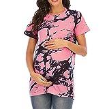 Camiseta de Maternidad para Mujer Top con Textura de mármol de Cebra Ajuste Holgado Cuello Redondo Mangas Cortas Camisetas Casuales de Verano Blusa Lactancia Embarazada Lactancia Camisa de algodón