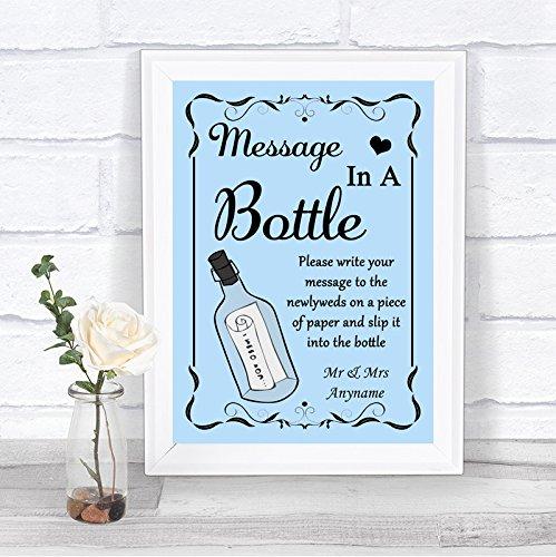 Blauwe boodschap in een fles gepersonaliseerd huwelijksbord Framed Oak Small