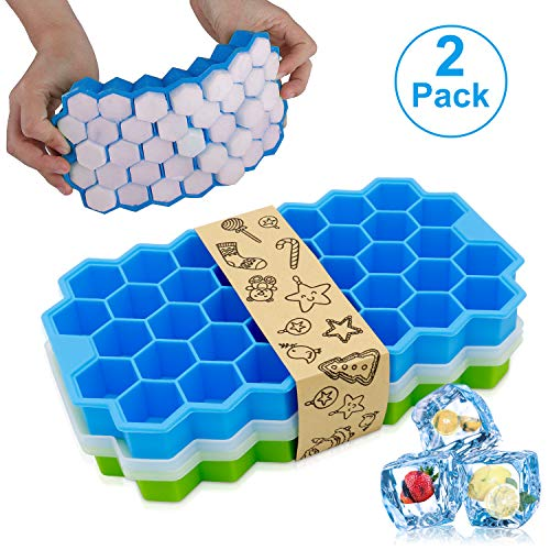 2 Pack Silicone Ice Cube Trays Food Grade BPA Free 74 cubes Reusable Ice Maker with Lid Easy Release Ice Cube Mold for Whiskey Wine Cocktail Beverages Juice