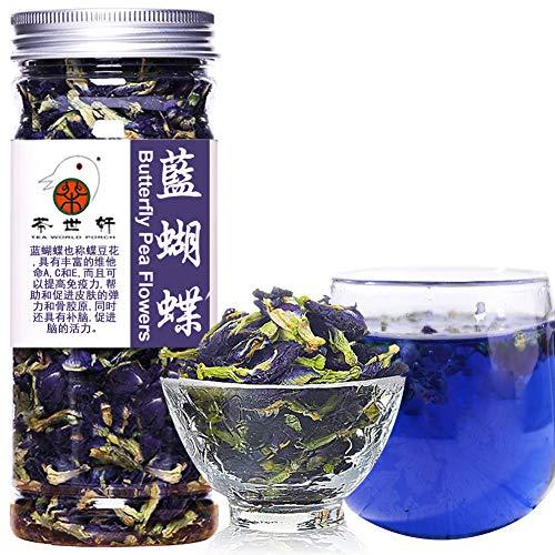 Plant Gift Dried Butterfly Pea Flowers Tea, Edible Flowers, Butterflies Tea Recipes Food Coloring Antioxidants Aging Wrinkles 40G/1.41oz