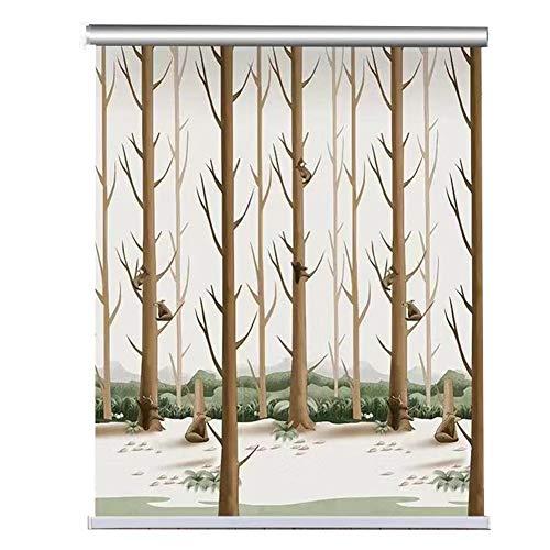 Estores enrollables Persianas con dibujos de árboles, persianas de tela para ventanas, sala de estar, viveros, habitaciones para niños, sombrilla, 80/90/100/115/130/140 cm de ancho ( Size : 90×140cm )