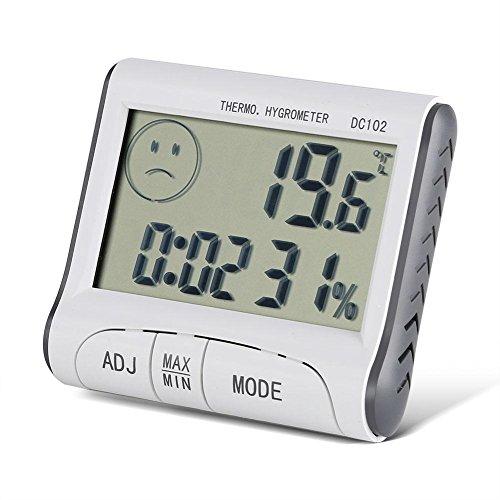 Fdit Termómetro Digital Temperatura LCD Casa Reloj Humedad Temperatura Tester LCD Higrómetro Termómetro Digital Interior Monitor de Humedad Medidor de Temperatura
