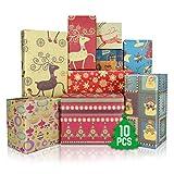 WEARXI Geschenkpapier Weihnachten 10 Blatt, Geschenkverpackung zum Geburtstag Weihnachtspapier Set...