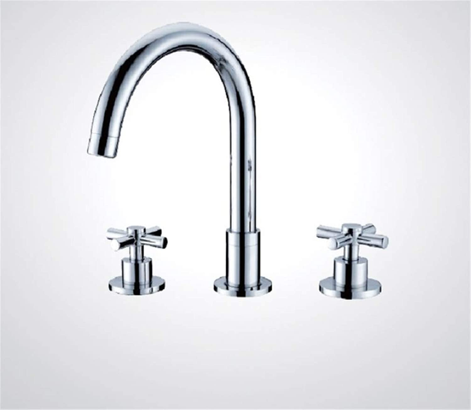 Taps Kitchen Basin Mixer Pull Out Mixerwash Basin Sink Vessel Chrome 3 Pieces Waterfall Spout Two Hot Cold Handle+Hose Deck Mount Bathtub Tap Mixer Faucet
