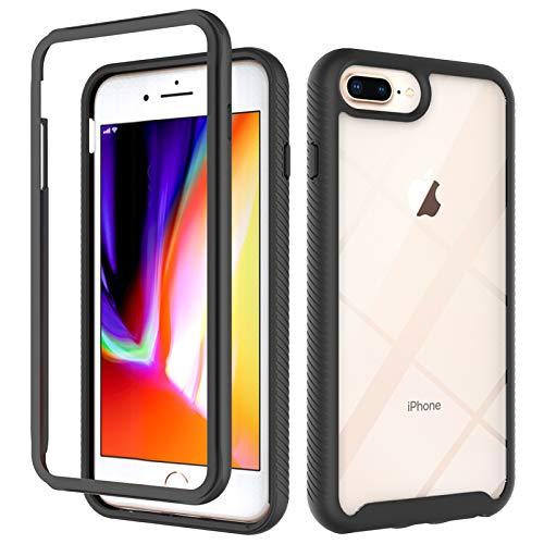WRNM Para iPhone 7 Plus iPhone 8 Plus Clear Full Threat Pretection Funda Protectora Antideslizante TPU TPU TPU TPU(Color:Respaldo Transparente + Marco Negro)