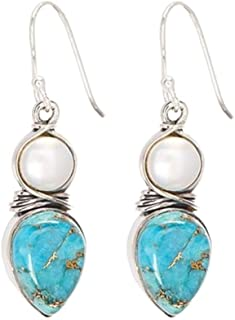andy cool Premium Quality Fashion Earrings for Women,Exquisite Faux Turquoise Pearl Hook Earrings Women Party Jewelry Birthday Gift - Silver
