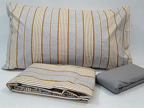 Bellora Bettwäsche-Set für Doppelbett aus Perkal aus reiner Baumwolle Armonie 250 x 200 + Spannbettlaken 170 x 200 + 2 Kissenbezüge 50 x 80 cm Nico