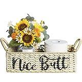Farmhouse Bathroom Decor Basket Organizer, Seagrass Bathroom Decor Box, Funny Bathroom Decor Toilet Paper Basket, Decorative Wicker Storage Basket for Shelves, Bathroom, Kitchen, Table and Counter
