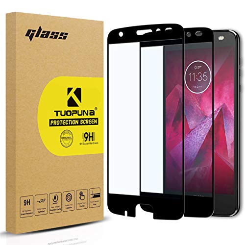 Motorola Moto Z2 Force Screen Protector, 2-Pack Tempered Glass (Full Screen Coverage) with Lifetime Replacement for Moto Z Force Edition (2nd Gen) -Black