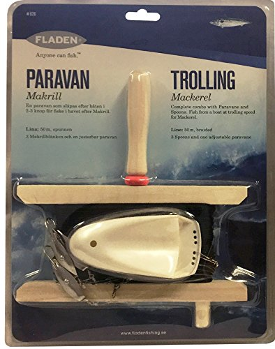 FLADEN Fishing - Adjustable Paravane and 3 Spoons Trolling Handline with Braided Line - For Offshore Boat Fishing [31-626]