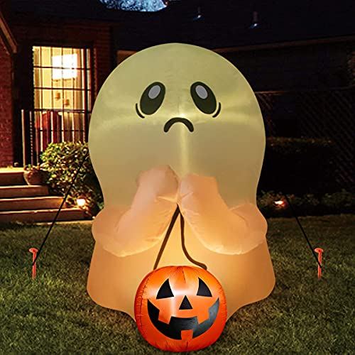 Halloween Inflatable Outdoor Yard Decorations – 4 ft Ghost Inflatable Blow Up Yard Decoration with Colorful Build-in LED for Front Yard, Porch, Lawn or Halloween Party Indoor