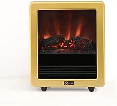 DENGSH Portátil el Ahorro de Energía Calentadores,de Imitación de Llama Chimenea Eléctrica Calefactor Eléctrico,Protección Térmica Caliente Velocidad/dorado / 31,5 x 37,5 cm
