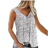 Betory Verano Floral Tank Tops para las mujeres más tamaño V cuello tiras Tops Casual sin mangas sueltas camisas túnica top blusas