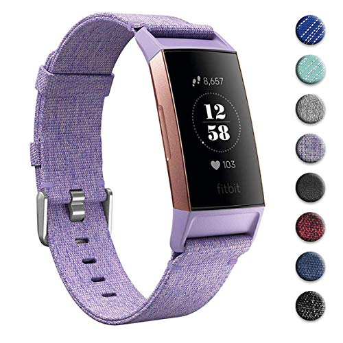hooroor Canvas Woven Bands Compatible for Fitbit Charge 3 and Charge 3 SE Fitness Activity Tracker, Breathable Fabric Soft Accessory Sports Replacement Band Wristbands Strap Women Men(Lavender, Large)