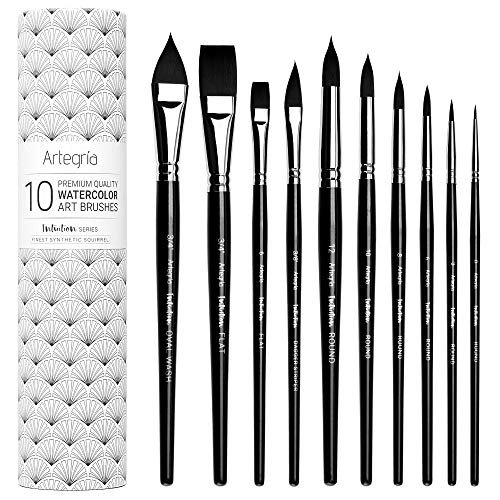 ARTEGRIA Watercolor Brush Set - 10 Professional Watercolor Paint Brushes for Artists - Soft Synthetic Squirrel Hair, Short Handles - Pointed Rounds, Flats, Dagger, Oval Wash for Water Color, Gouache