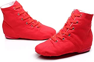NLeahershoe Dance Shoes Lace up Jazz Danceing Boot Shoes for Canvas Shoes for Unisex Childrens