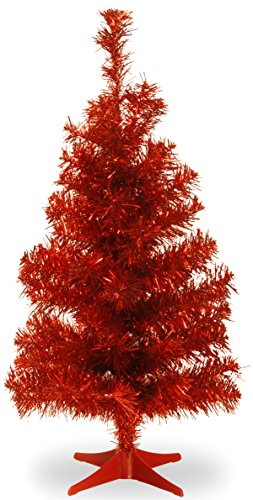 National Tree Company Artificial Christmas Tree | Includes Stand | Red Tinsel - 3 ft