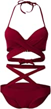 Mingsheng Bikini Set, Vrouwen Sexy Braziliaanse Bikini Set Halter V-hals Criss Cross Strappy Bandage Badpak Effen Kleur Cu...