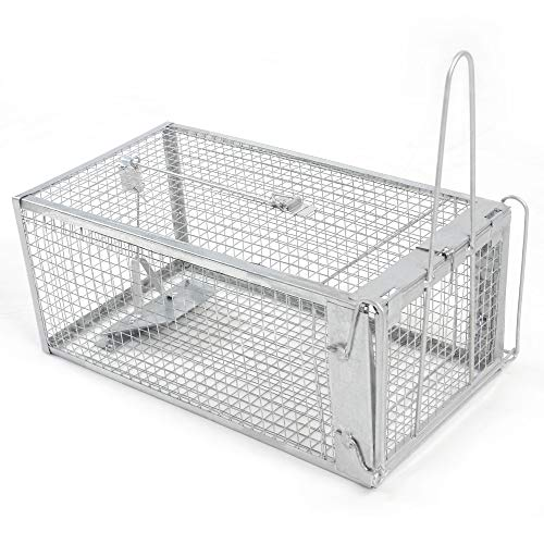 H&B Luxuries Rat Trap - Humane Live Animal Cage for Rat Mouse Hamster Mole Weasel Gopher Chipmunk Squirrels and More Rodents (12.7'x 6.6'x 5.2')