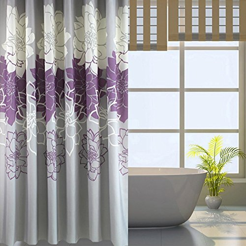 Gray Background and Flowers Pattern, Waterproof Washable Printed Polyester Fabric Shower Curtain for Bathroom (72inch72inch, Purple)