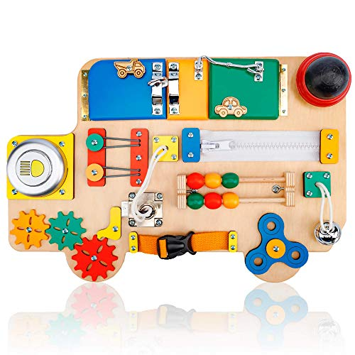 Toddler Busy Board Car for 1 2 3 Year Old - Wooden Handmade Baby Sensory Activity Boards with Keys, Lock, Latches, Fidget Spinner, Buckle - Travel Plane Montessori Toys (Multicolored)