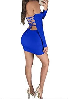 TOB Women Casual Sexy Off Shoulder Solid Bandage Lace Party Mini Dress