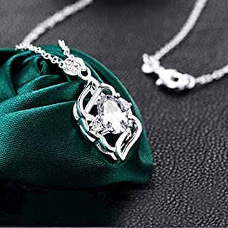 Fashion, Color, Inlaid Zircon Necklace, European and American Star Silver Plated Accessories (Color : White) Girls Necklace (Color : White)