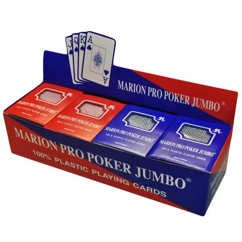 New Box of 12 decks of 100% Plastic Marion Pro Poker Playing Cards - Jumbo index