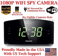 AES 1080P HD WiFi Alarm Clock Radio Spy Camera Wireless IP P2P Covert Hidden Nanny Camera Spy Gadget (1080P WI-FI Model)