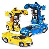 Ltteaoy Deformations-Roboterauto, 2 Stück Mini-Transform-Spielzeug für Kinder im Alter von 3–7 Jahren, 2-in-1 Transformations-Auto zum Zurückziehen, beste Geburtstagsgeschenke für Jungen und Mädchen