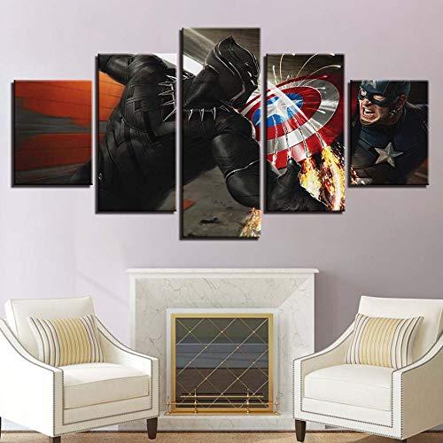 adgkitb canvas 5 Pezzi Modern Home Craft Pittura Decorazione della Parete Picture Movie Poster American Captain Comodino Sfondo Camera da Letto Cornice per Pittura