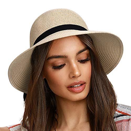 FURTALK Sun Hats for Women Straw Beach Hat for Girls UPF Travel Packable Cap with Chin Strap Medium, Adult NormalBrim Beige