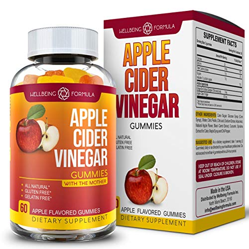 Pure Apple Cider Vinegar Gummies with Ginger-Raw Unfiltered ACV with The Mother-Best Alternative to Apple Cider Vinegar Capsules, ACV Pills, Tablets-Detox and Cleanse-Support Immunity (60 ACV Gummies)