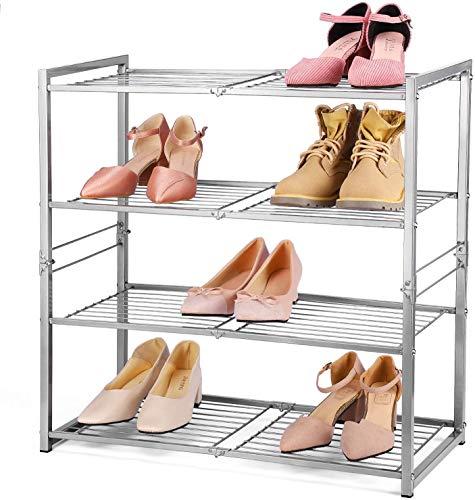 HOUSE DAY Zapatero de 4 Niveles Plegable Organizador de Almacenamiento de Zapatos Plegable Mate Zapatero de Metal Resistente Zapatero Multifuncional Estante de Torre de Zapatos - Plata