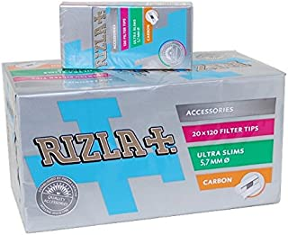 Rizla CARBON ultra slim 5.7 Cigarette Filter Tips - 20 Packet (activated carbon)