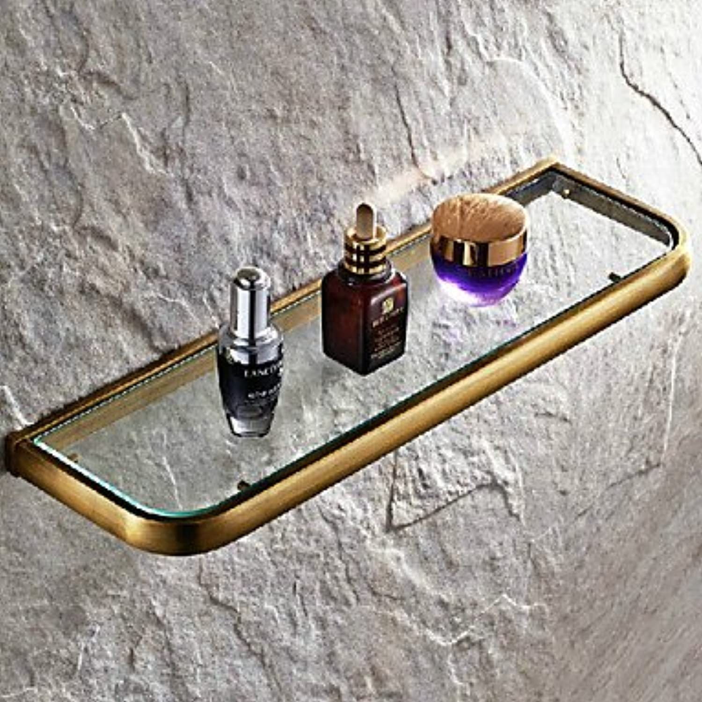 ZQ Antique Brass Wall Mounted Bathroom Glass Shelves