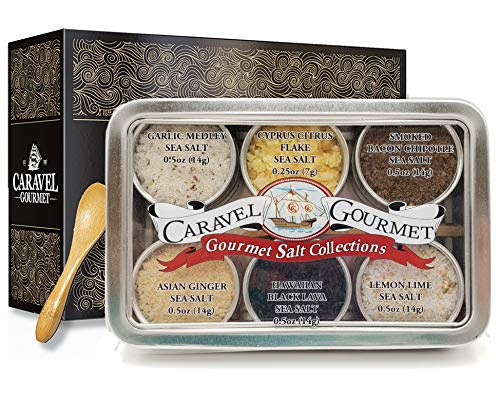 Infused Sea Salt Sampler - 6 Resuable Tins, Bamboo Spoon, Perfect Gift - Smoked Bacon Chipotle, Hawaiian Black Lava, Cyprus Citrus Flake, Garlic Medley, Asian Ginger, & Lemon Lime, by Caravel Gourmet