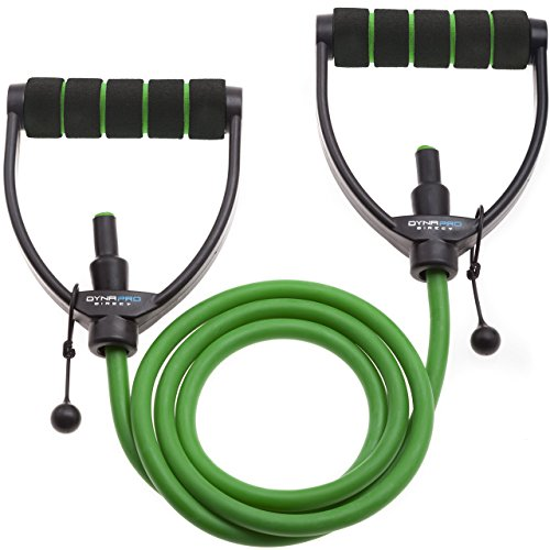 DYNAPRO Exercise Resistance Bands – Adjustable, Comfort Handles, Professional Quality - Workout Guide Included, Perfect for Any Home Fitness Training Program Sold Individual or Set- Green