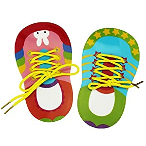 Toyvian Children Shoelace Threading Teaching Toys Toddler Lacing Shoes Early Education Teaching Aids 2pcs