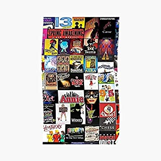 Broadway Musical Collage Poster - For Office Decor, College Dorm, Teachers, Classroom, Gym Workout And School Halloween, Holiday, Christmas Party ! Great Inspirational Wall Art Poster.