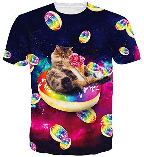Goodstoworld 3D Digital Impreso Cat Donuts Camiseta de Las Mujeres de...