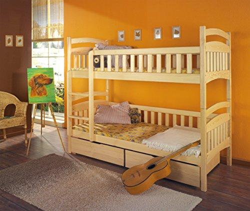 Massivholz Kiefer 190x80 Etagenbett 2 Liegeflächen inkl.2 Matratzen Hochbett DOMINIK