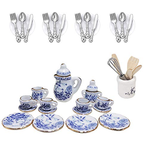 Broadsheet 37 Pcs Miniature Dollhouse Accessories, Dollhouse Kitchen Miniature Stuff Contain Blue Porcelain Mini Tea Set, Plate Knife Fork Spoon and Egg Beater Utensil (1:12)