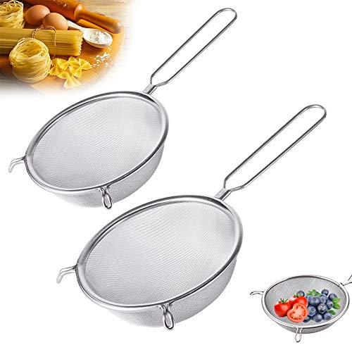 2 Pack Stainless Steel Mesh StrainerDoubleEar Kitchen StrainerFood Fine Strainer Sieve for Flour FilterEggsJuiceVegetablesFruitsPastaNoodles6Inch/8Inch