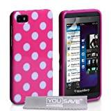 Yousave Accessories Polka Dot Silicone Gel Cover for BlackBerry Z10 - Hot Pink