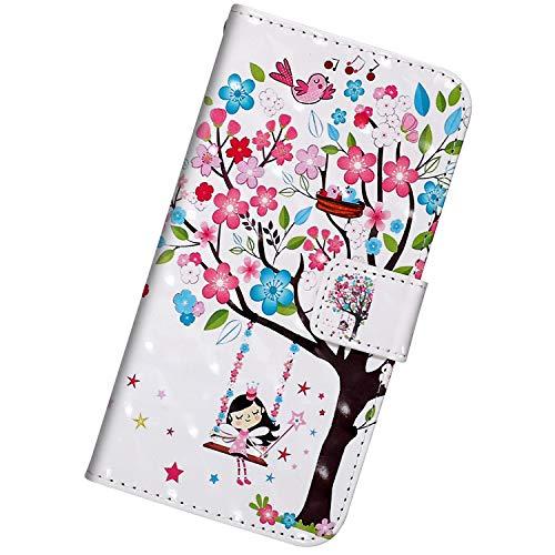 Urhause Kompatibel mit Huawei Enjoy 9S,[3D Gemaltes Muster] Leder Geldbörse Flip Folio Hülle Magnetverschluss Standfunktion Kartenfächer Mit Schlüsselband Schutzhülle,Mädchen unter dem Baum